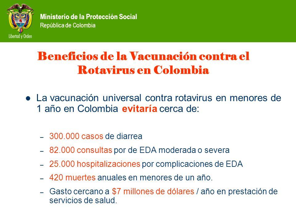 Ministerio de la Protección Social República de Colombia Beneficios de la Vacunación contra el Rotavirus en Colombia La vacunación universal contra ro