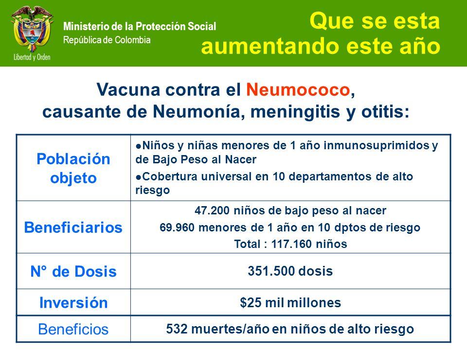 Ministerio de la Protección Social República de Colombia Vacuna contra el Neumococo, causante de Neumonía, meningitis y otitis: Que se esta aumentando
