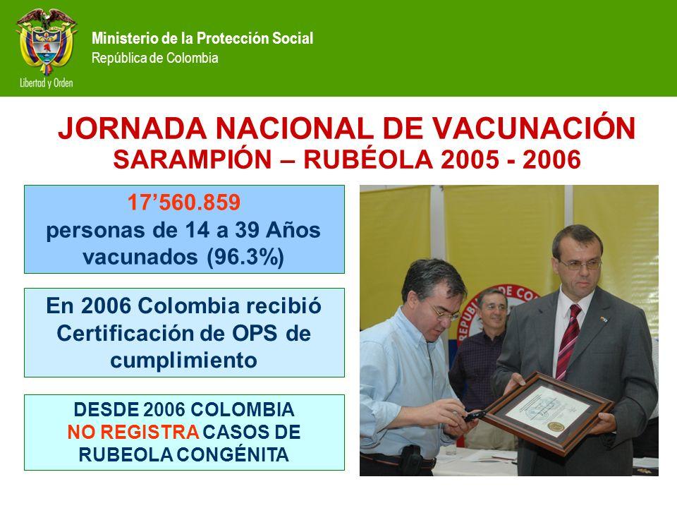 Ministerio de la Protección Social República de Colombia JORNADA NACIONAL DE VACUNACIÓN SARAMPIÓN – RUBÉOLA 2005 - 2006 17560.859 personas de 14 a 39