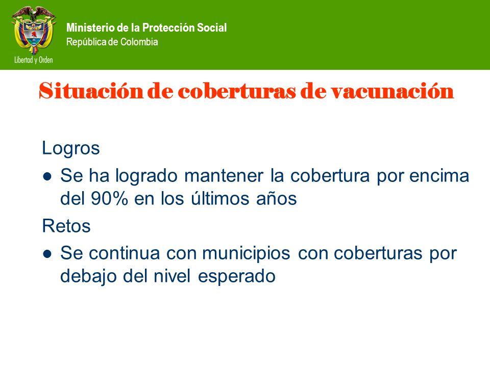 Ministerio de la Protección Social República de Colombia Situación de coberturas de vacunación Logros Se ha logrado mantener la cobertura por encima d