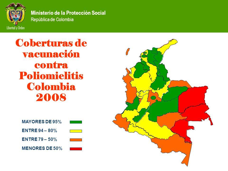 Ministerio de la Protección Social República de Colombia Coberturas de vacunación contra Poliomielitis Colombia 2008 CAUCA MAYORES DE 95% ENTRE 94 – 8