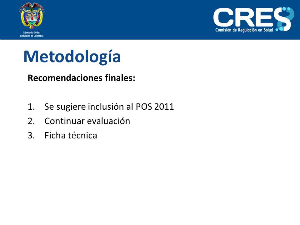 Recomendaciones finales: 1.Se sugiere inclusión al POS 2011 2.Continuar evaluación 3.Ficha técnica Metodología