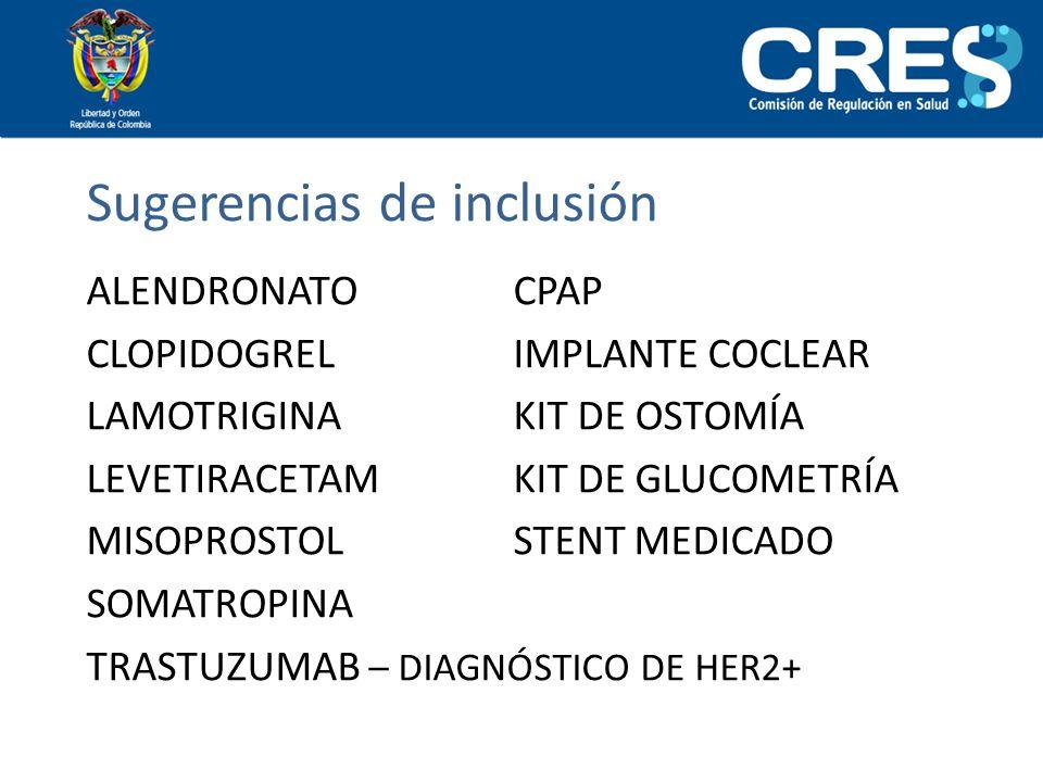Sugerencias de inclusión ALENDRONATO CPAP CLOPIDOGREL IMPLANTE COCLEAR LAMOTRIGINA KIT DE OSTOMÍA LEVETIRACETAM KIT DE GLUCOMETRÍA MISOPROSTOL STENT M
