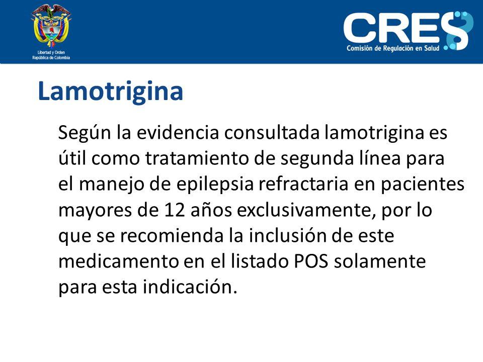 Lamotrigina Según la evidencia consultada lamotrigina es útil como tratamiento de segunda línea para el manejo de epilepsia refractaria en pacientes m