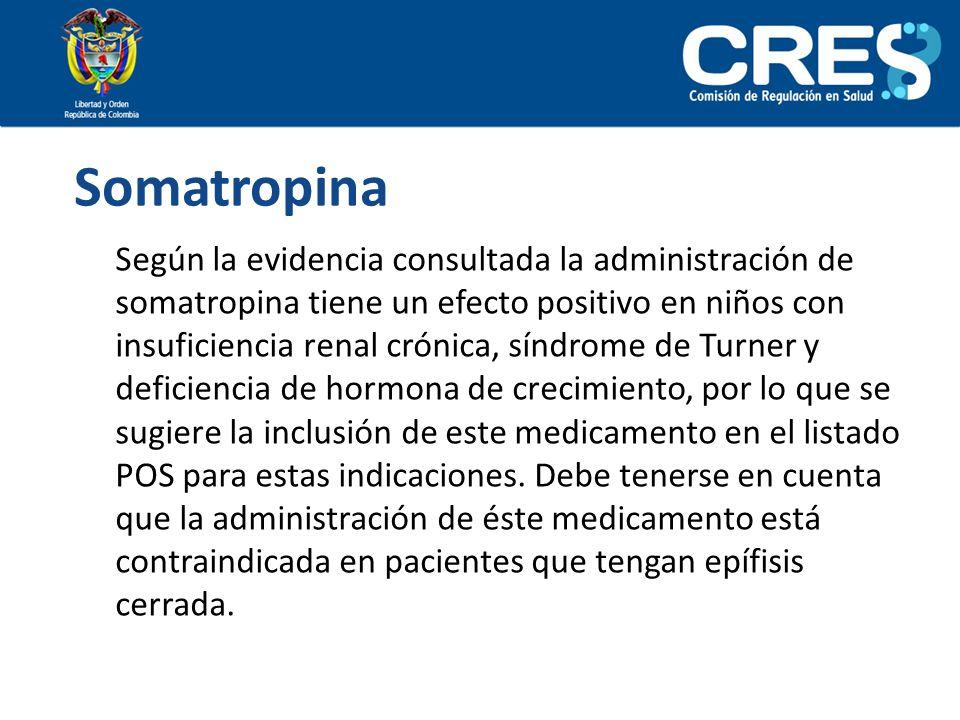 Somatropina Según la evidencia consultada la administración de somatropina tiene un efecto positivo en niños con insuficiencia renal crónica, síndrome