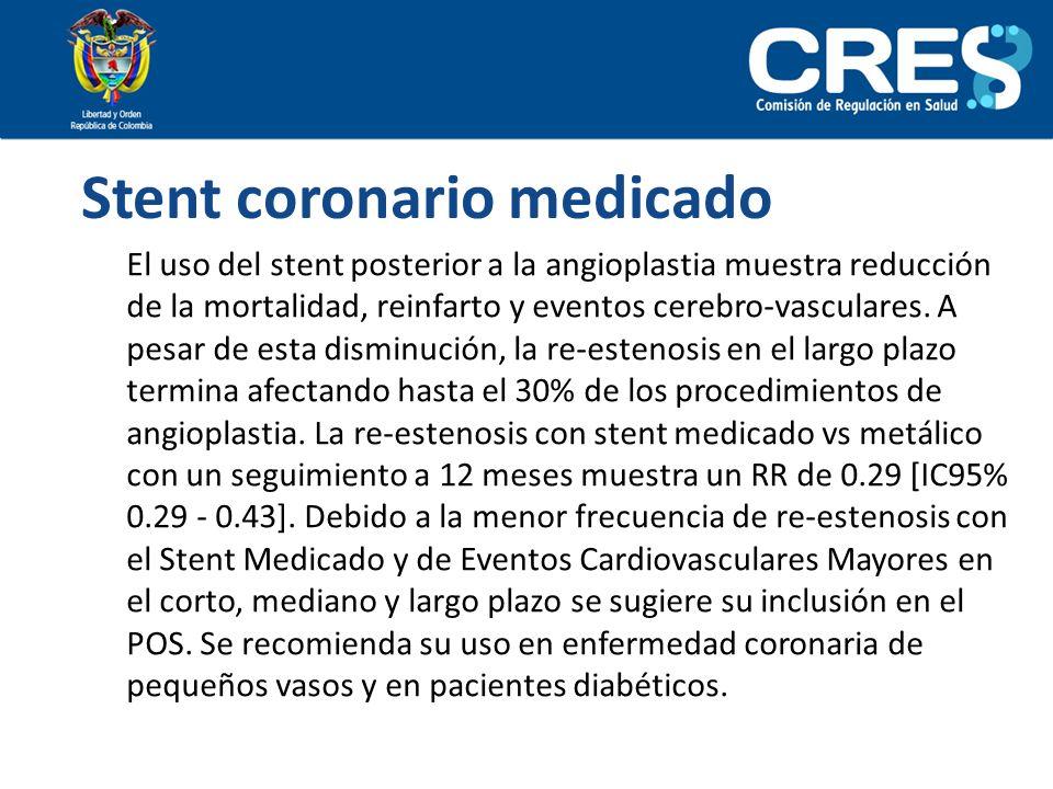 Stent coronario medicado El uso del stent posterior a la angioplastia muestra reducción de la mortalidad, reinfarto y eventos cerebro-vasculares. A pe