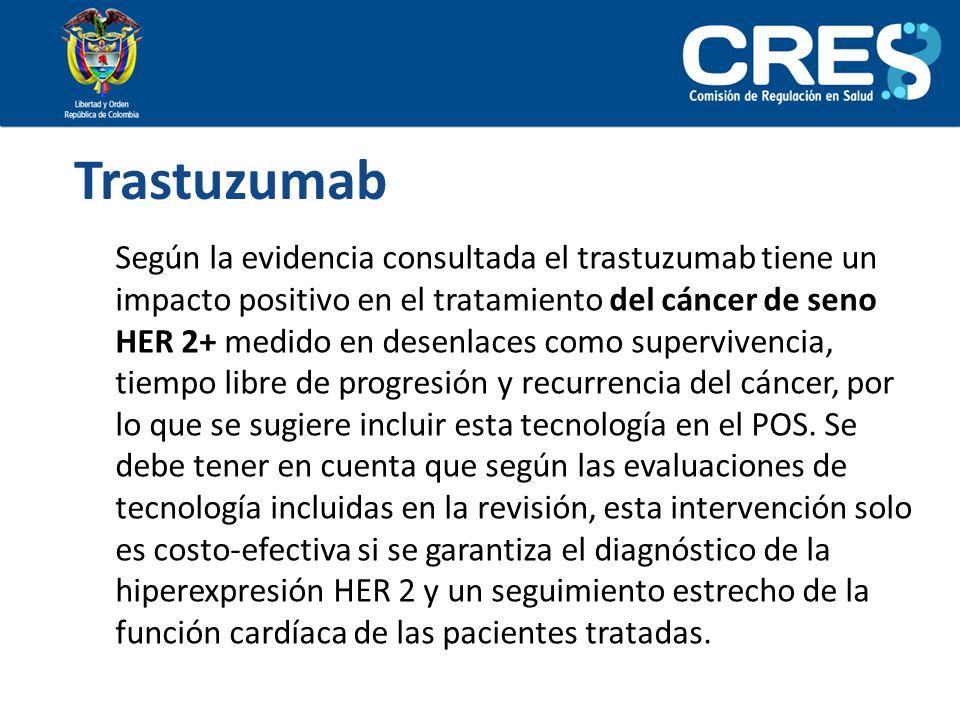 Trastuzumab Según la evidencia consultada el trastuzumab tiene un impacto positivo en el tratamiento del cáncer de seno HER 2+ medido en desenlaces co
