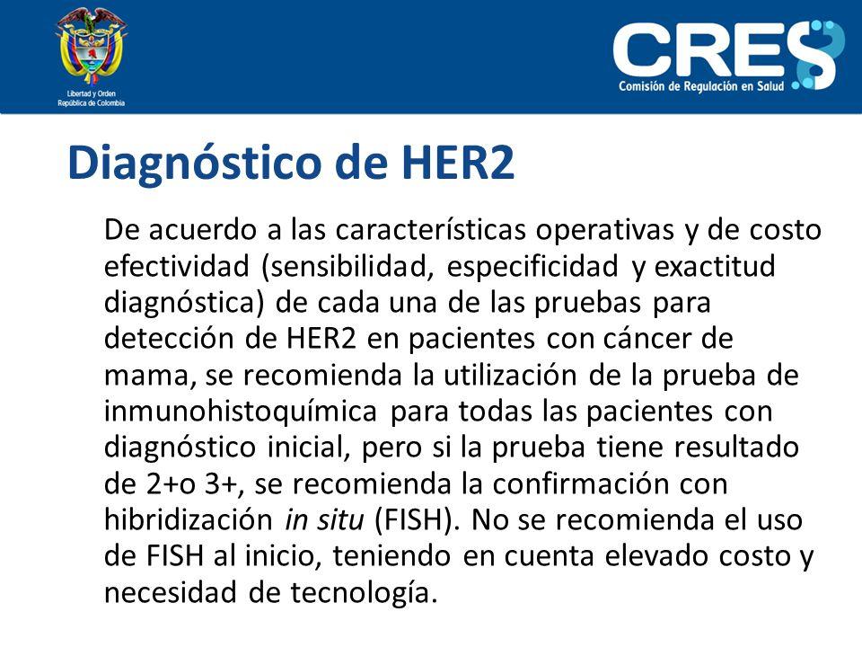 Diagnóstico de HER2 De acuerdo a las características operativas y de costo efectividad (sensibilidad, especificidad y exactitud diagnóstica) de cada u