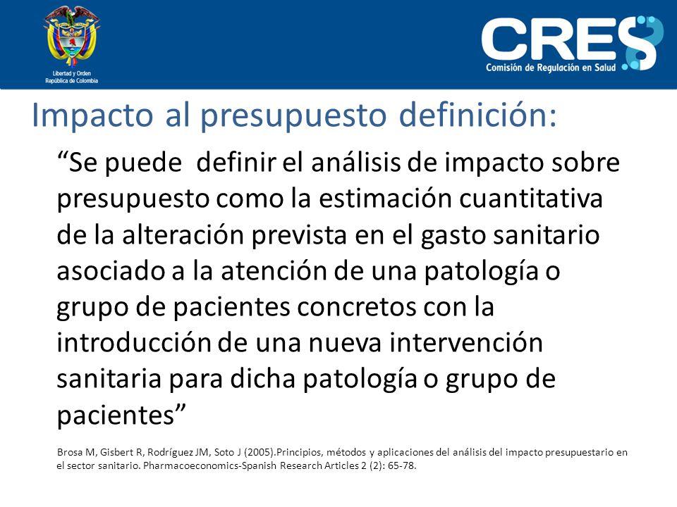 Impacto al presupuesto definición: Se puede definir el análisis de impacto sobre presupuesto como la estimación cuantitativa de la alteración prevista