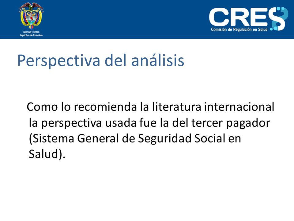 Perspectiva del análisis Como lo recomienda la literatura internacional la perspectiva usada fue la del tercer pagador (Sistema General de Seguridad S