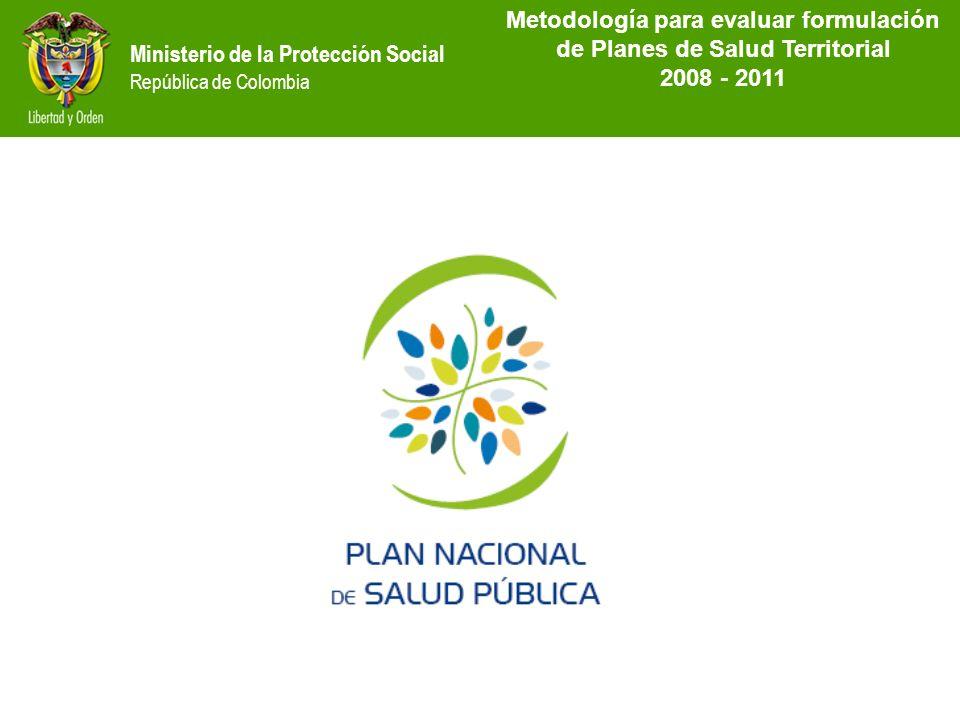 Ministerio de la Protección Social República de Colombia MetodoIogía para evaluar formulación de Planes de Salud Territorial 2008 - 2011