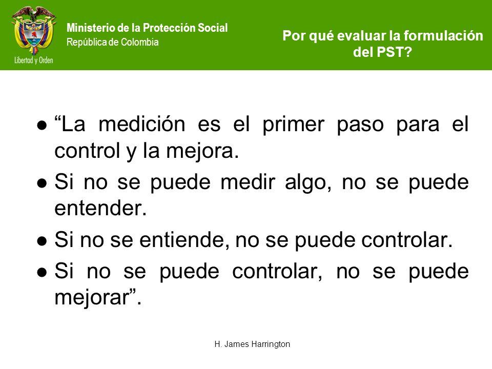 Ministerio de la Protección Social República de Colombia La medición es el primer paso para el control y la mejora. Si no se puede medir algo, no se p
