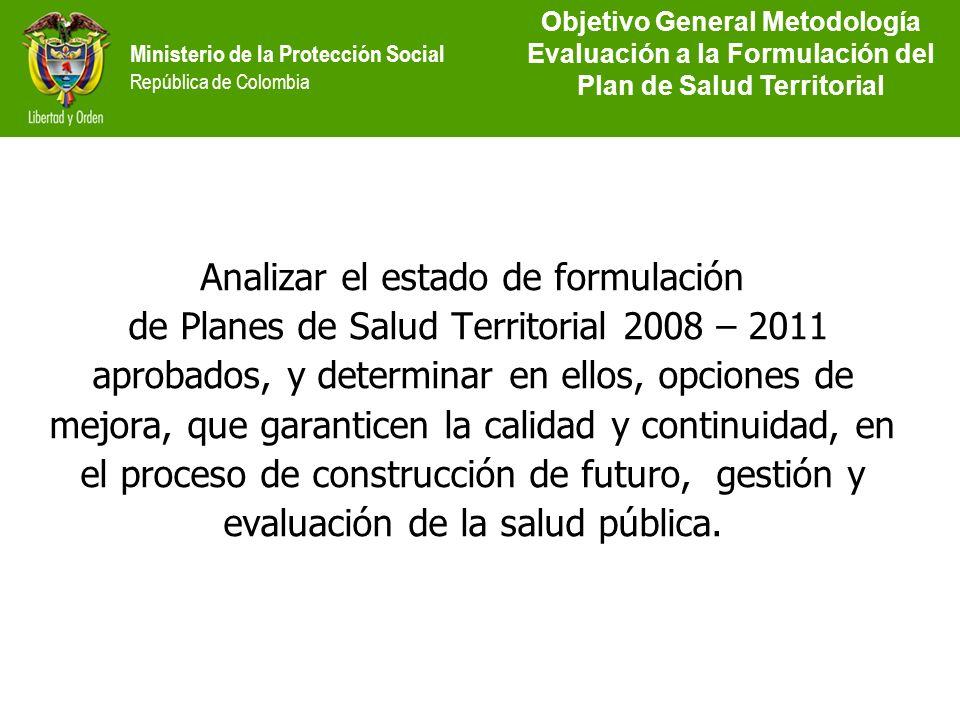 Ministerio de la Protección Social República de Colombia Analizar el estado de formulación de Planes de Salud Territorial 2008 – 2011 aprobados, y det