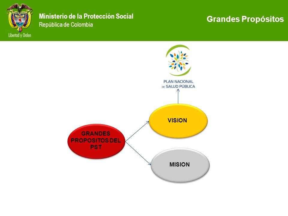 Ministerio de la Protección Social República de Colombia VISION MISION GRANDES PROPOSITOS DEL PST GRANDES PROPOSITOS DEL PST Grandes Propósitos