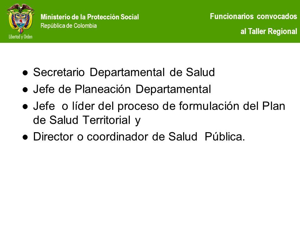Ministerio de la Protección Social República de Colombia Secretario Departamental de Salud Jefe de Planeación Departamental Jefe o líder del proceso d