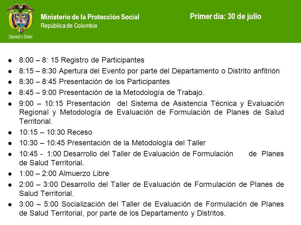 Ministerio de la Protección Social República de Colombia 8:00 – 8: 15 Registro de Participantes 8:15 – 8:30 Apertura del Evento por parte del Departam