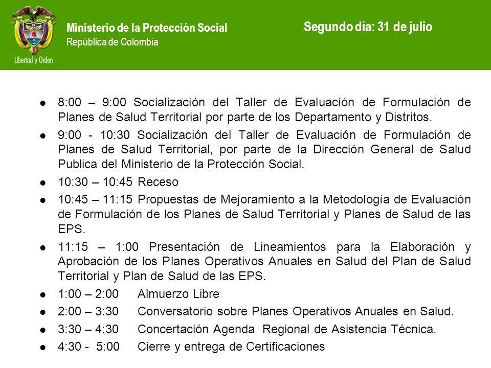 Ministerio de la Protección Social República de Colombia 8:00 – 9:00 Socialización del Taller de Evaluación de Formulación de Planes de Salud Territor