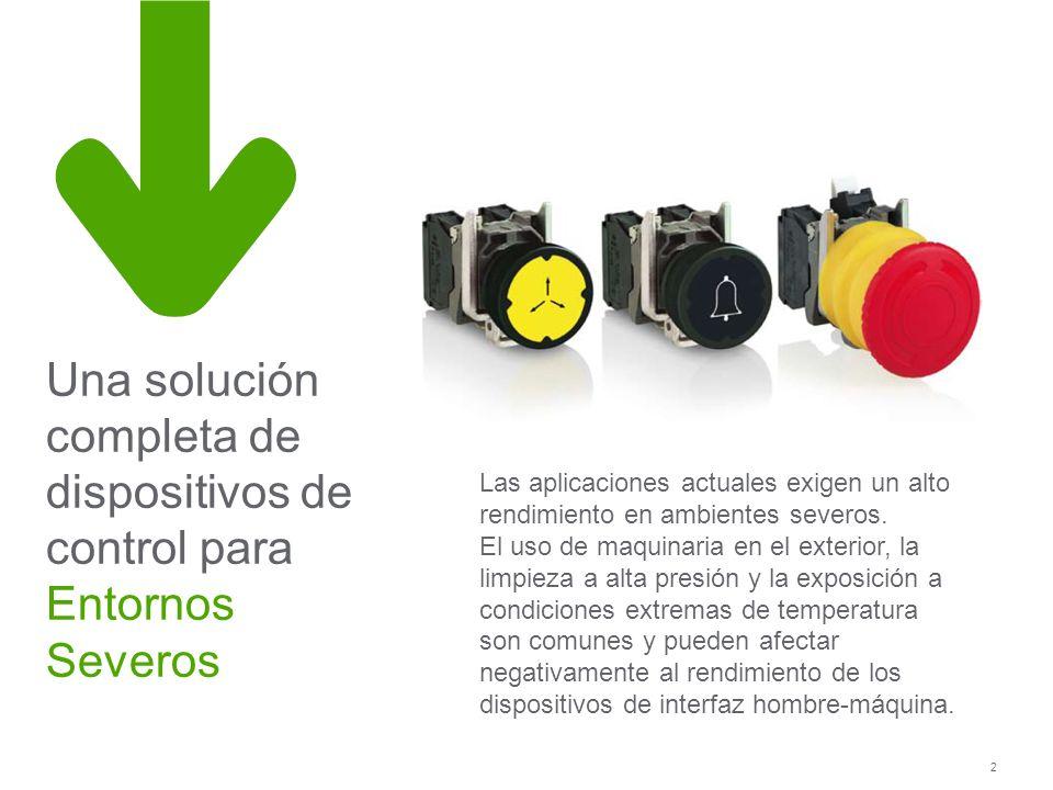 2 Una solución completa de dispositivos de control para Entornos Severos Las aplicaciones actuales exigen un alto rendimiento en ambientes severos. El