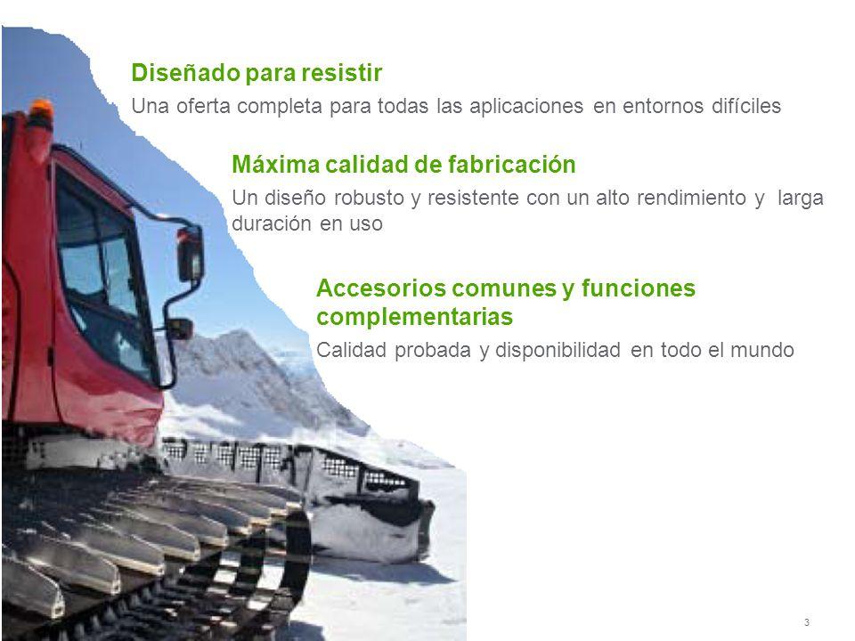 3 Diseñado para resistir Una oferta completa para todas las aplicaciones en entornos difíciles Máxima calidad de fabricación Un diseño robusto y resis