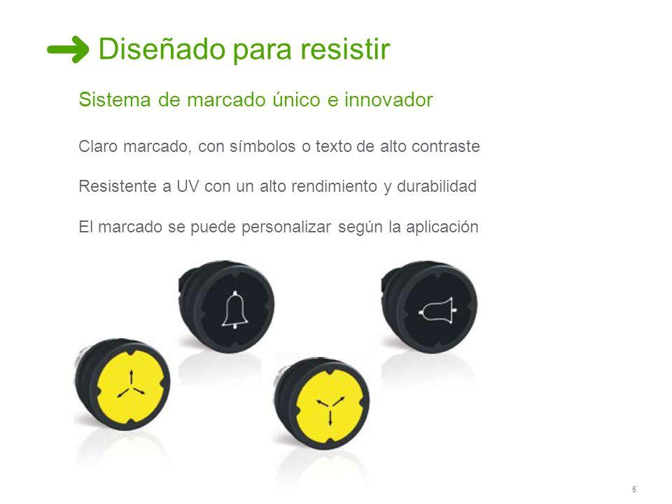 5 Diseñado para resistir Sistema de marcado único e innovador Claro marcado, con símbolos o texto de alto contraste Resistente a UV con un alto rendim