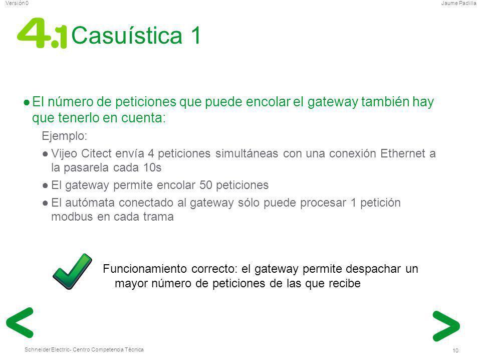 Schneider Electric 10 - Centro Competencia Técnica Jaume PadillaVersión 0 Casuística 1 El número de peticiones que puede encolar el gateway también ha