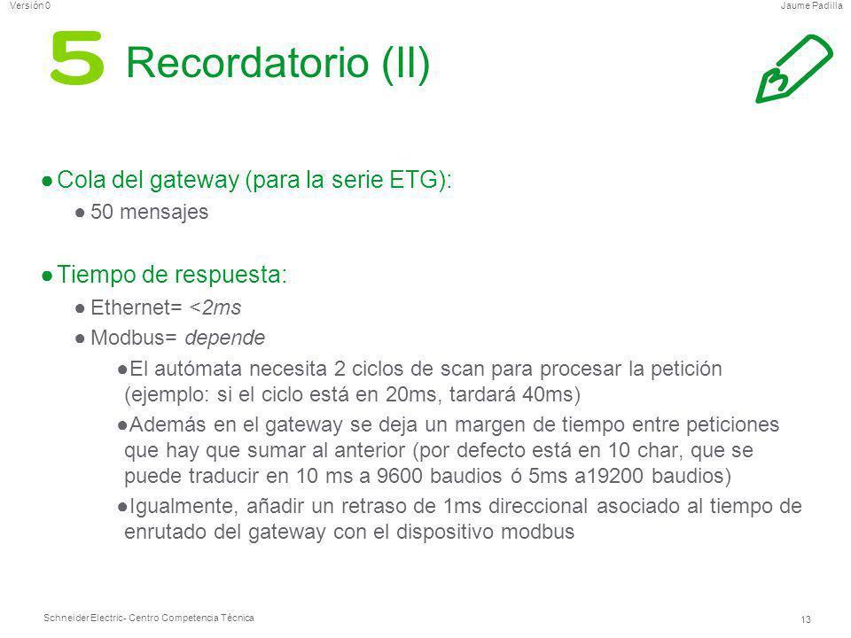 Schneider Electric 13 - Centro Competencia Técnica Jaume PadillaVersión 0 Recordatorio (II) Cola del gateway (para la serie ETG): 50 mensajes Tiempo d