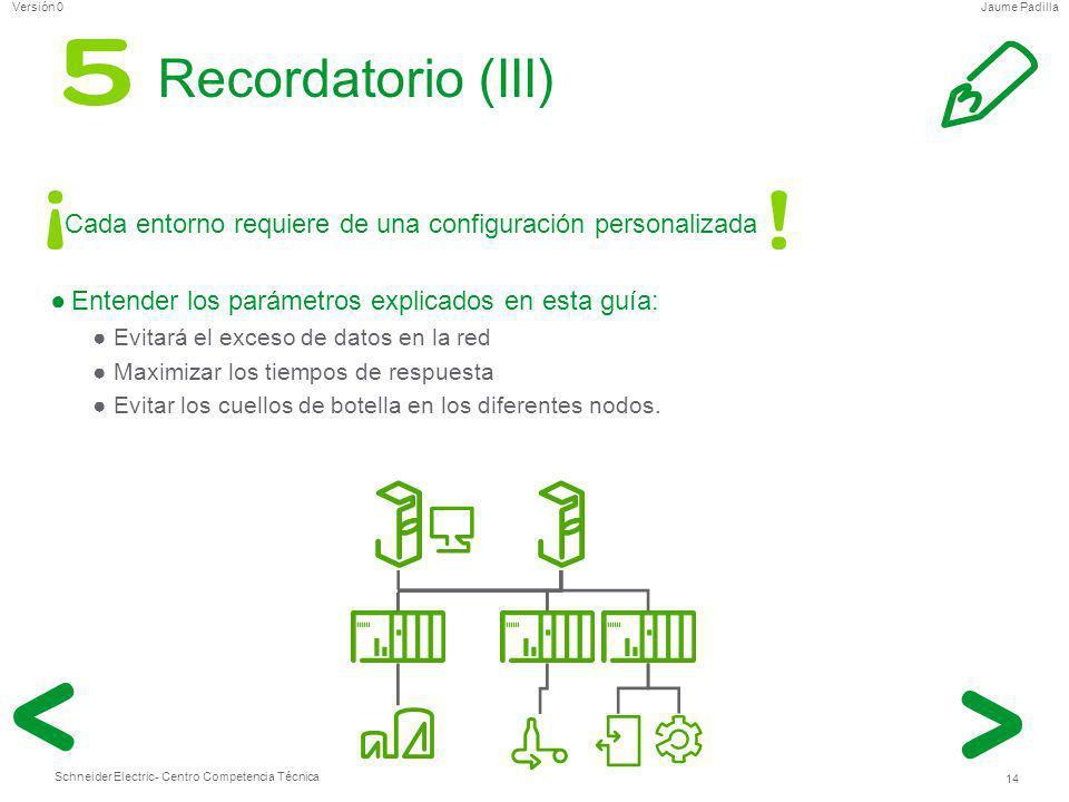 Schneider Electric 14 - Centro Competencia Técnica Jaume PadillaVersión 0 Recordatorio (III) Cada entorno requiere de una configuración personalizada