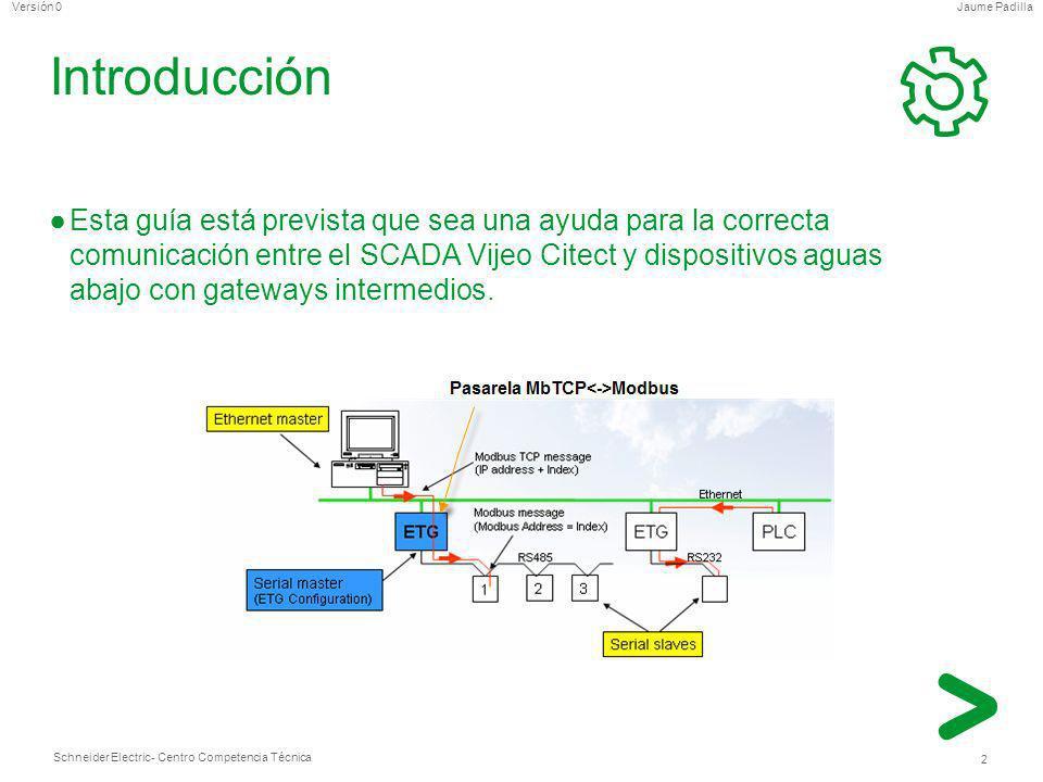 Schneider Electric 13 - Centro Competencia Técnica Jaume PadillaVersión 0 Recordatorio (II) Cola del gateway (para la serie ETG): 50 mensajes Tiempo de respuesta: Ethernet= <2ms Modbus= depende El autómata necesita 2 ciclos de scan para procesar la petición (ejemplo: si el ciclo está en 20ms, tardará 40ms) Además en el gateway se deja un margen de tiempo entre peticiones que hay que sumar al anterior (por defecto está en 10 char, que se puede traducir en 10 ms a 9600 baudios ó 5ms a19200 baudios) Igualmente, añadir un retraso de 1ms direccional asociado al tiempo de enrutado del gateway con el dispositivo modbus