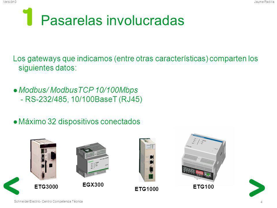 Schneider Electric 4 - Centro Competencia Técnica Jaume PadillaVersión 0 Pasarelas involucradas Los gateways que indicamos (entre otras característica