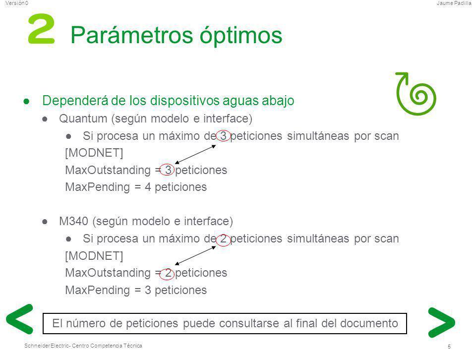 Schneider Electric 5 - Centro Competencia Técnica Jaume PadillaVersión 0 Parámetros óptimos Dependerá de los dispositivos aguas abajo Quantum (según m