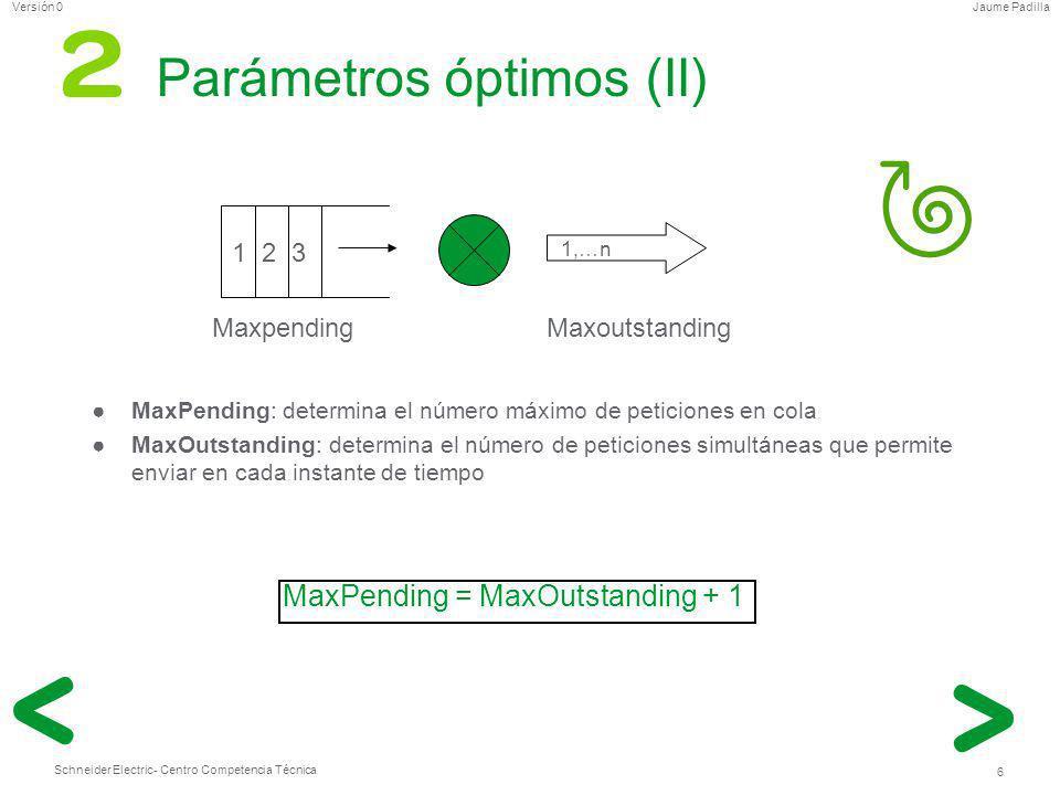 Schneider Electric 6 - Centro Competencia Técnica Jaume PadillaVersión 0 Parámetros óptimos (II) MaxPending: determina el número máximo de peticiones
