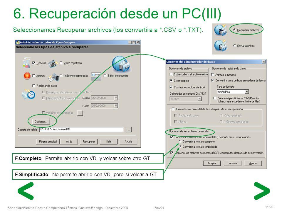 Schneider Electric 11/20 -Centro Competencia Técnica- Gustavo Rodrigo – Diciembre.2009 Rev04 Seleccionamos Recuperar archivos (los convertira a *.CSV