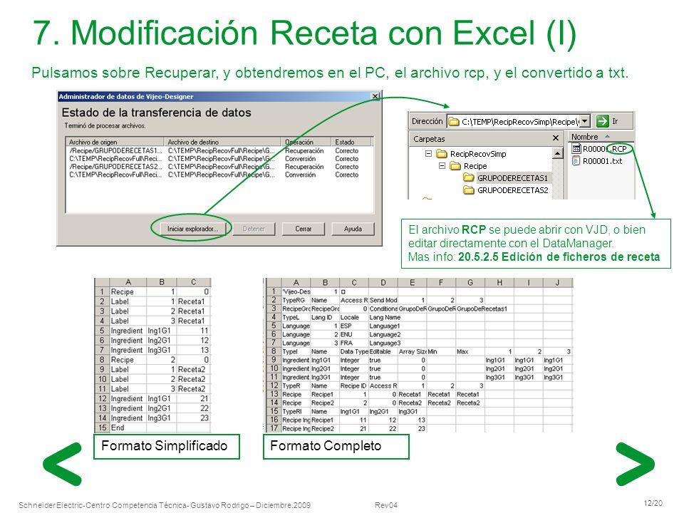 Schneider Electric 12/20 -Centro Competencia Técnica- Gustavo Rodrigo – Diciembre.2009 Rev04 Formato SimplificadoFormato Completo 7. Modificación Rece