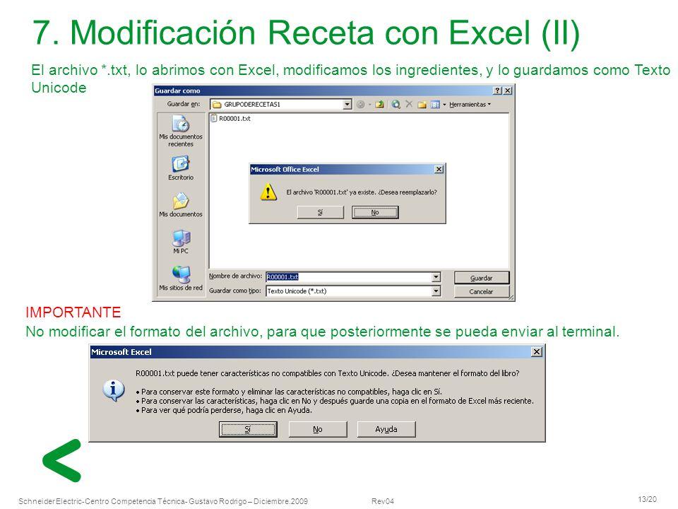 Schneider Electric 13/20 -Centro Competencia Técnica- Gustavo Rodrigo – Diciembre.2009 Rev04 El archivo *.txt, lo abrimos con Excel, modificamos los i