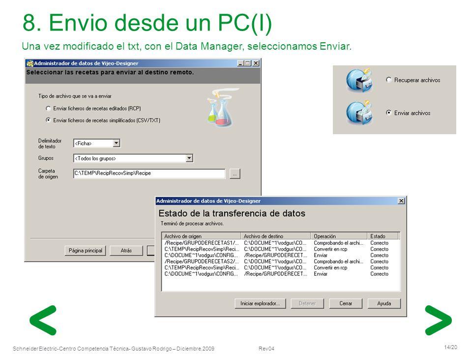Schneider Electric 14/20 -Centro Competencia Técnica- Gustavo Rodrigo – Diciembre.2009 Rev04 Una vez modificado el txt, con el Data Manager, seleccion