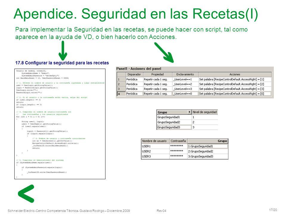 Schneider Electric 17/20 -Centro Competencia Técnica- Gustavo Rodrigo – Diciembre.2009 Rev04 Para implementar la Seguridad en las recetas, se puede ha
