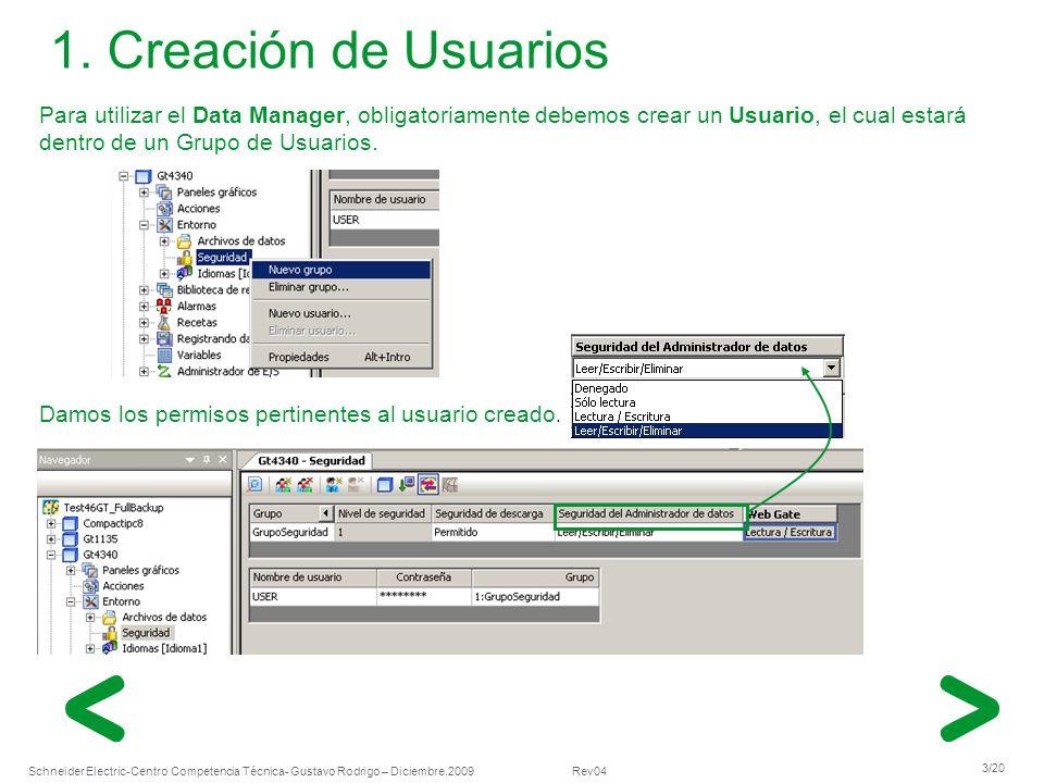 Schneider Electric 3/20 -Centro Competencia Técnica- Gustavo Rodrigo – Diciembre.2009 Rev04 Para utilizar el Data Manager, obligatoriamente debemos cr