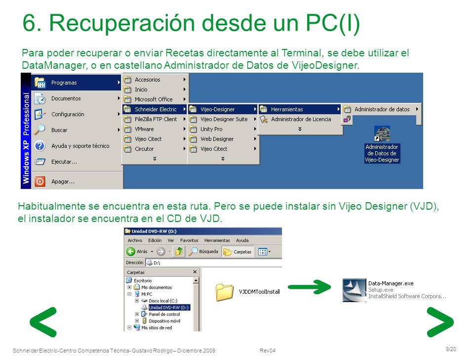 Schneider Electric 9/20 -Centro Competencia Técnica- Gustavo Rodrigo – Diciembre.2009 Rev04 Para poder recuperar o enviar Recetas directamente al Term