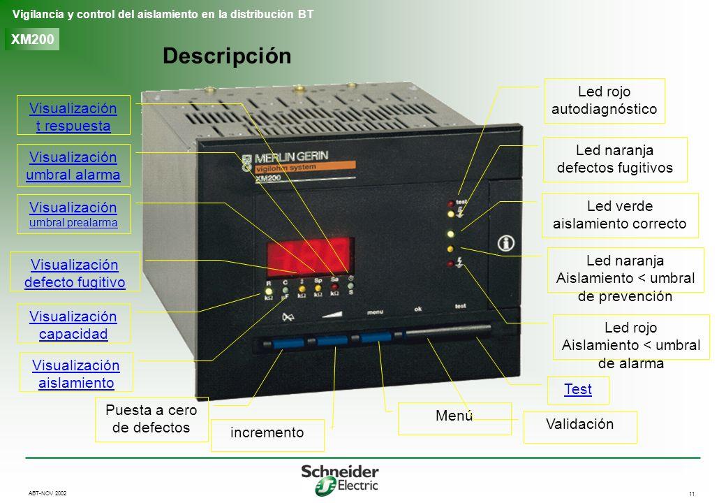 11 Vigilancia y control del aislamiento en la distribución BT ABT-NOV 2002 XM200 Descripción Led rojo autodiagnóstico Led naranja defectos fugitivos L