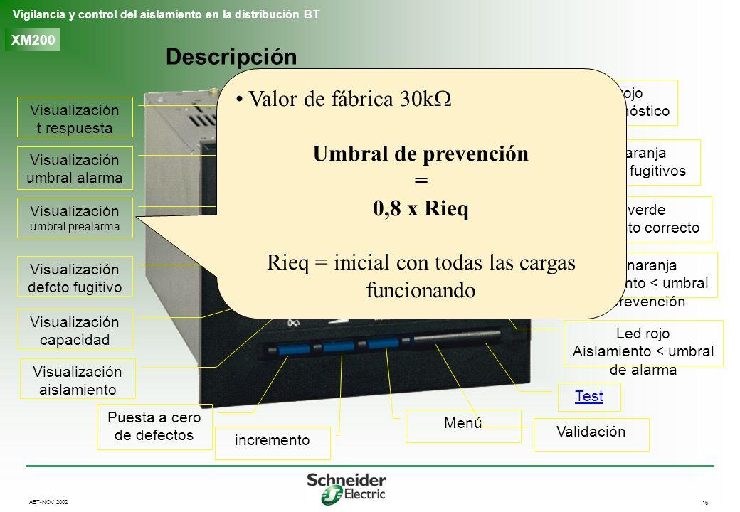 16 Vigilancia y control del aislamiento en la distribución BT ABT-NOV 2002 XM200 Descripción Led rojo autodiagnóstico Led naranja defectos fugitivos L