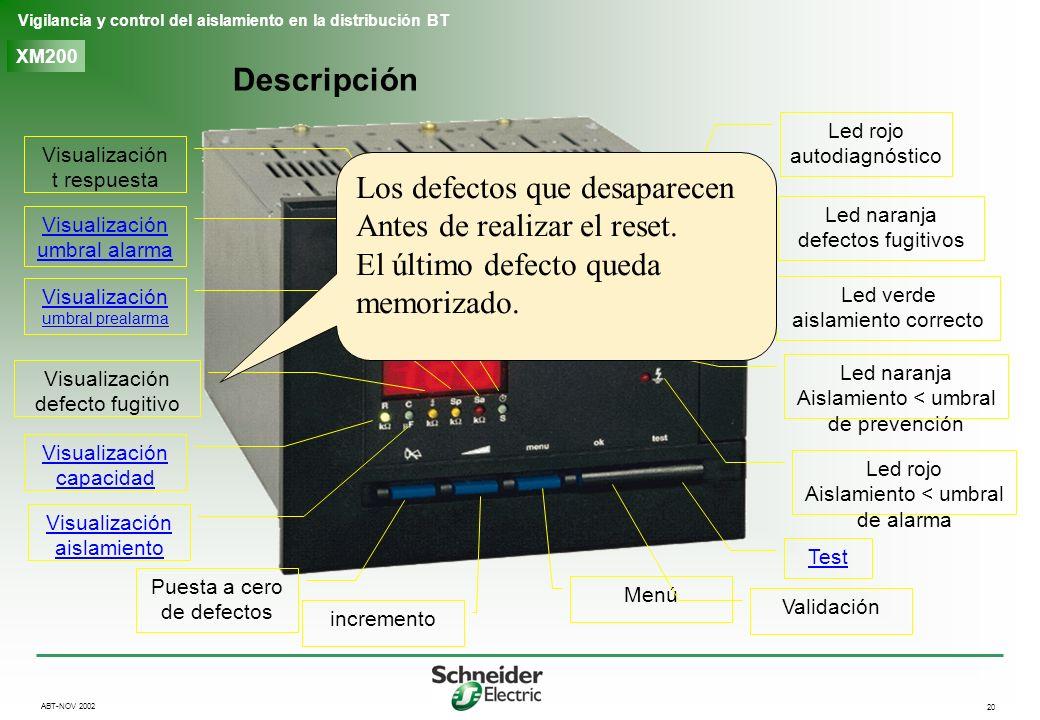 20 Vigilancia y control del aislamiento en la distribución BT ABT-NOV 2002 XM200 Descripción Led rojo autodiagnóstico Led naranja defectos fugitivos L