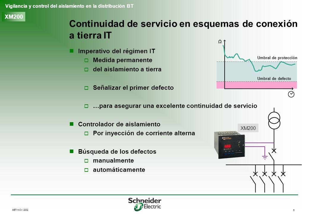 5 Vigilancia y control del aislamiento en la distribución BT ABT-NOV 2002 XM200 Continuidad de servicio en esquemas de conexión a tierra IT Imperativo