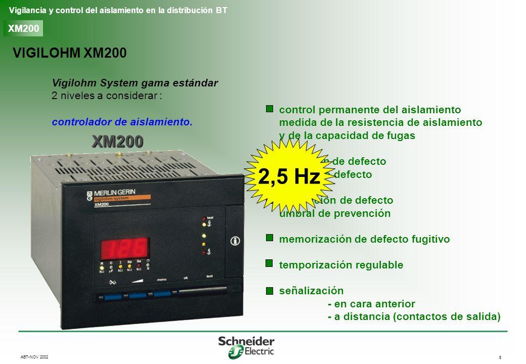 7 Vigilancia y control del aislamiento en la distribución BT ABT-NOV 2002 XM200 VIGILOHM XD3XX: búsqueda automática detección de salida en defecto XD312 XD301 toroidales abiertos toroidales cerrados automática detección automática de salida en defecto - umbral fijo señalización - local - a distancia memorización posible del defecto compatible con XM200, XM300C, XML308/316