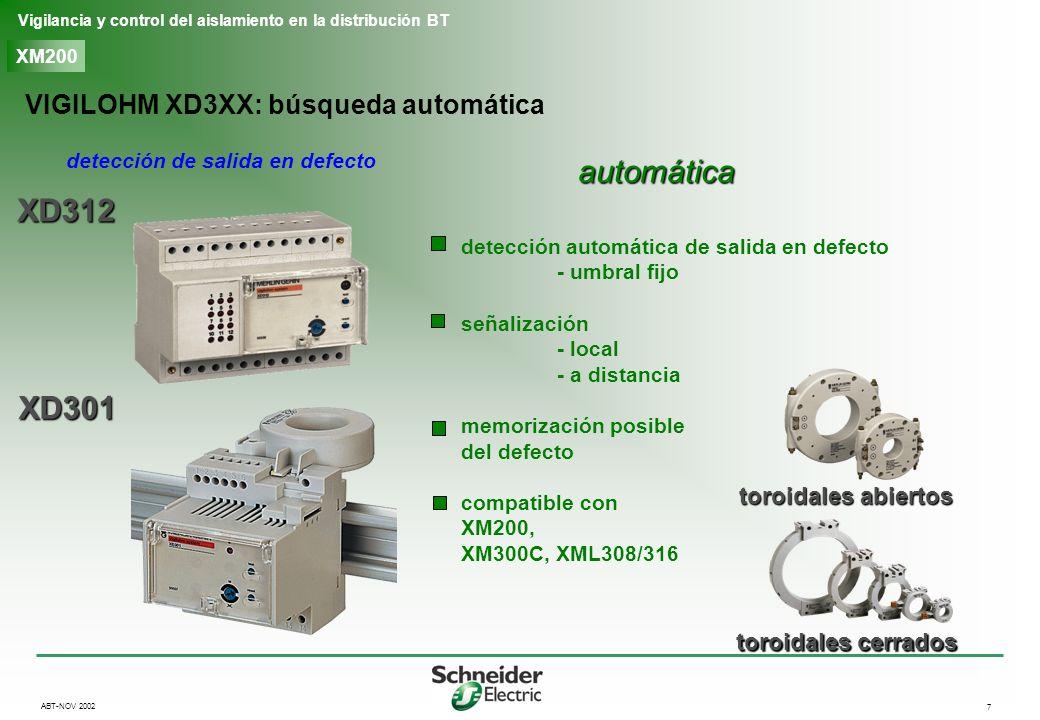 8 Vigilancia y control del aislamiento en la distribución BT ABT-NOV 2002 XM200 XP50, XP100 VIGILOHM XRM: búsqueda manual detección de salida en defecto manual búsqueda manual de salida en defecto - búsqueda de defecto < 5 kohms - display numérico compatible con XM200, XM300C, XML308/316 Receptor móbil XRM