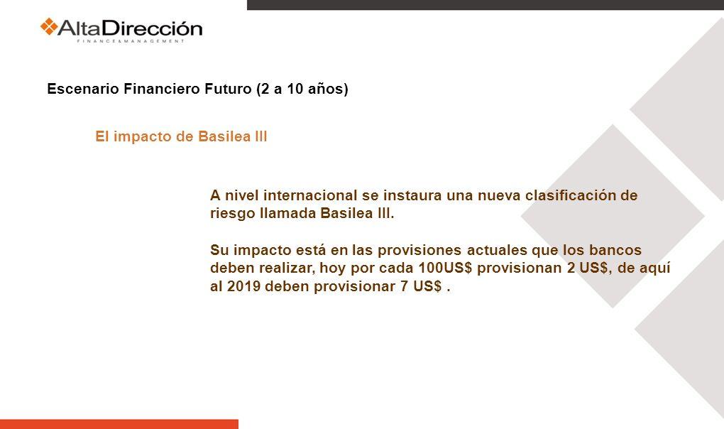 Escenario Financiero Futuro (2 a 10 años) El impacto de Basilea III A nivel internacional se instaura una nueva clasificación de riesgo llamada Basilea III.