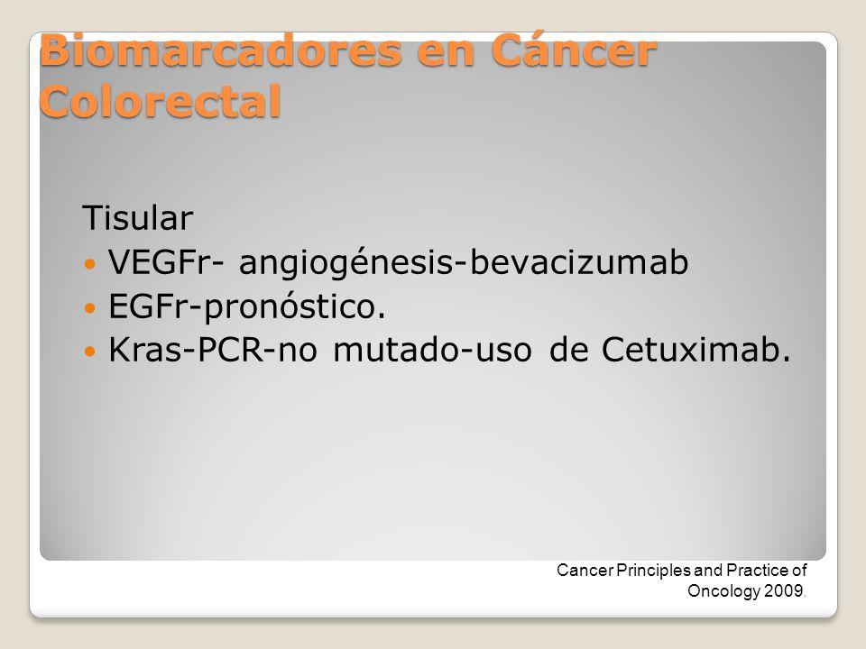 Biomarcadores en Cáncer Colorectal Tisular VEGFr- angiogénesis-bevacizumab EGFr-pronóstico. Kras-PCR-no mutado-uso de Cetuximab. Cancer Principles and