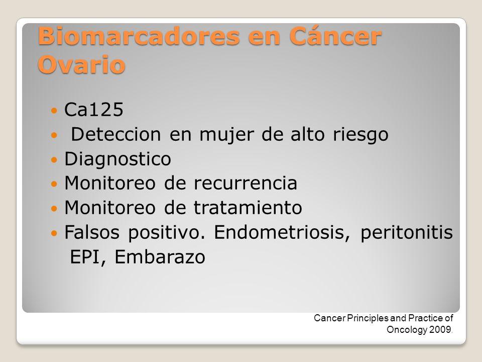 Biomarcadores en Cáncer Ovario Ca125 Deteccion en mujer de alto riesgo Diagnostico Monitoreo de recurrencia Monitoreo de tratamiento Falsos positivo.