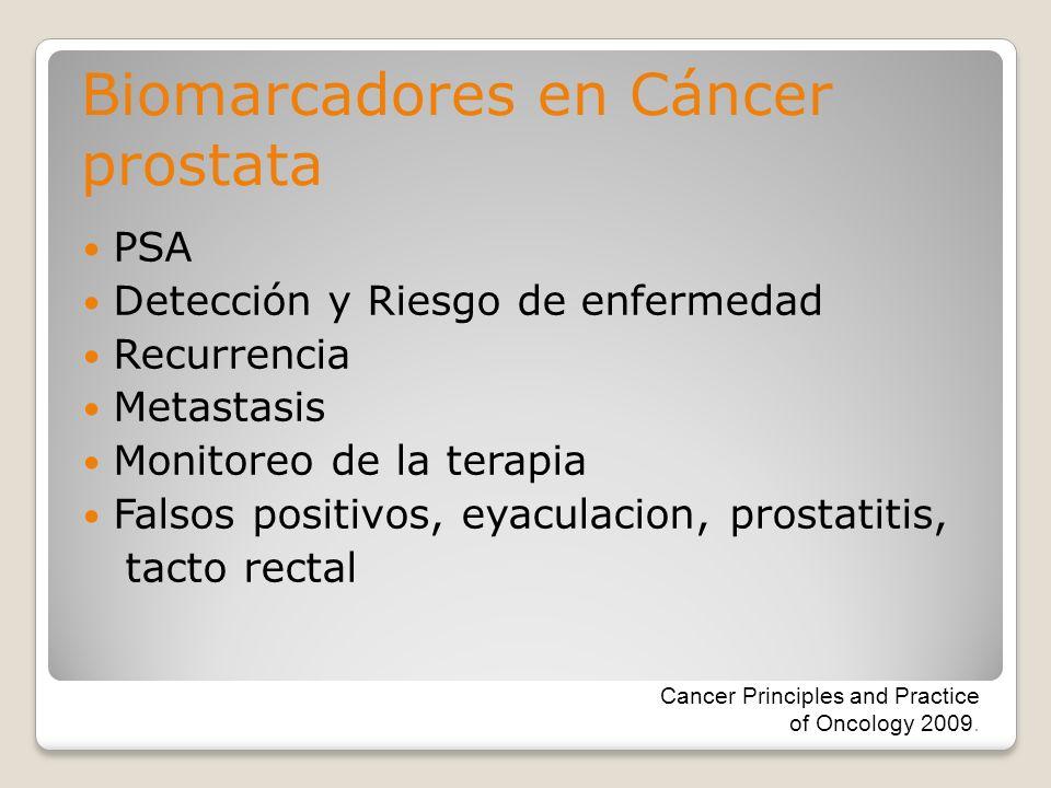 PSA Detección y Riesgo de enfermedad Recurrencia Metastasis Monitoreo de la terapia Falsos positivos, eyaculacion, prostatitis, tacto rectal Biomarcad