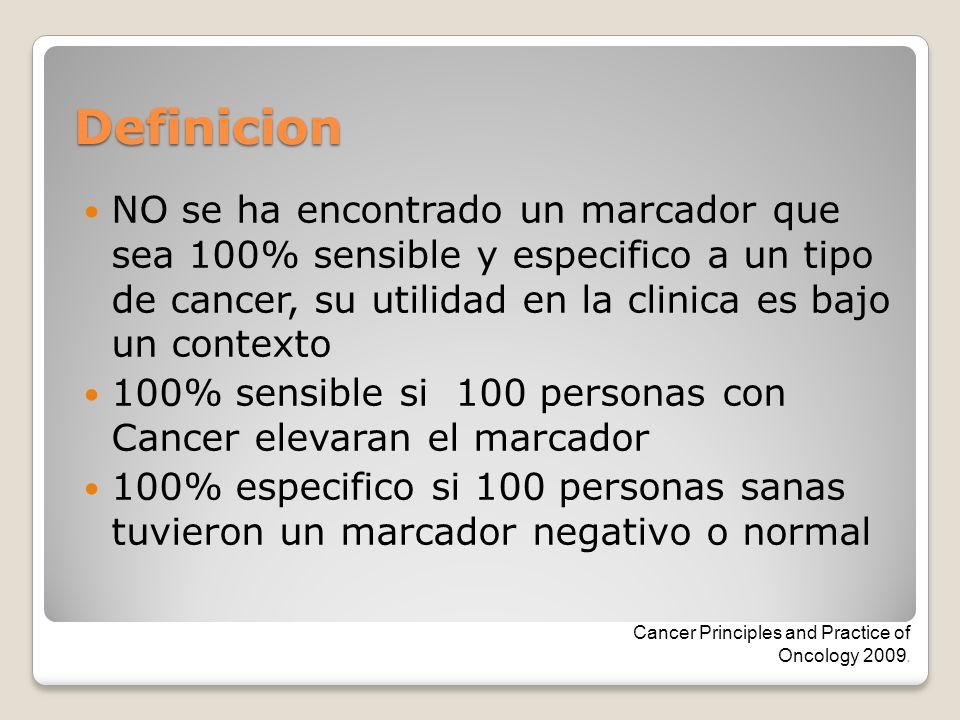 Definicion NO se ha encontrado un marcador que sea 100% sensible y especifico a un tipo de cancer, su utilidad en la clinica es bajo un contexto 100%