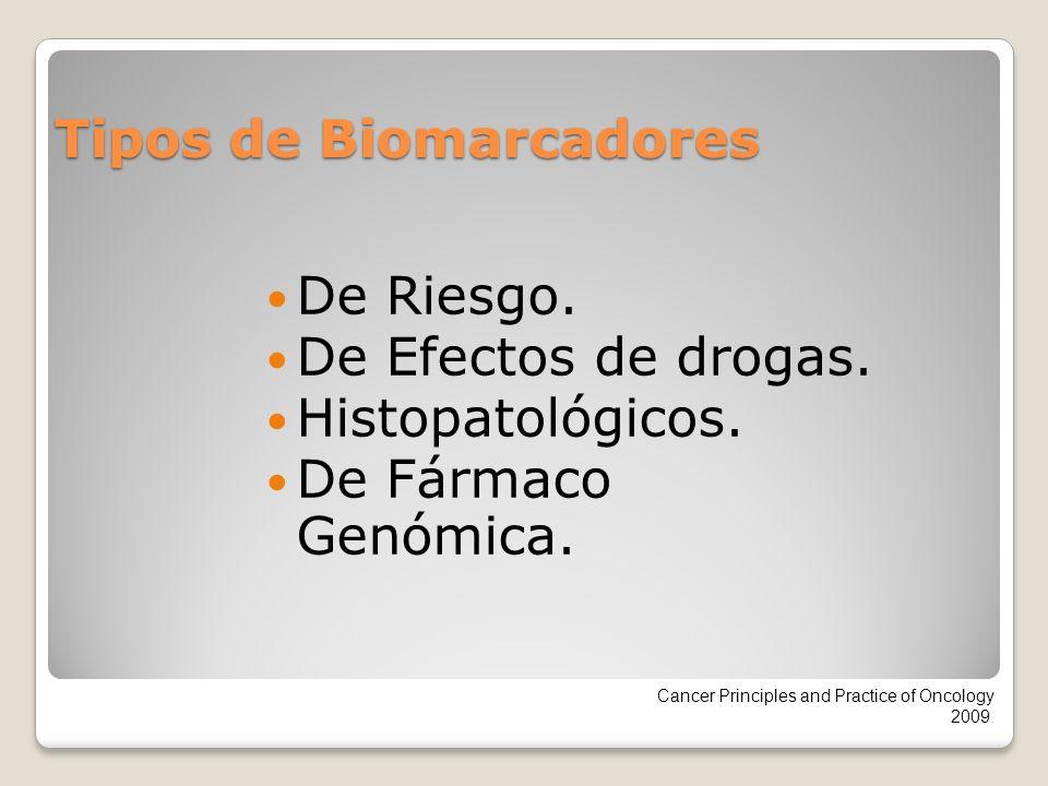 Tipos de Biomarcadores De Riesgo. De Efectos de drogas. Histopatológicos. De Fármaco Genómica. Cancer Principles and Practice of Oncology 2009.